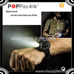 POPPAS B99 men's watch sport torch flashlight build in rechargeable usb charge watch torch