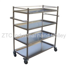 Two handle material moving shelf trolley with four layers