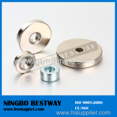 Permanent Ring Magnets Neodymium with countersunk hole