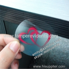 Red Hearts Printed Transparent Clear Round Stickers