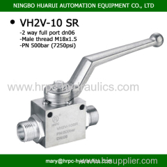 DN06 high pressure 2-way hydraulic ball valve DIN 2353 SR with two mounting ball valve