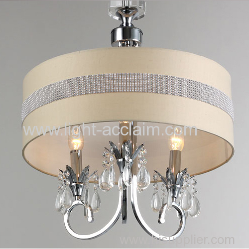 Fabric Shade Round Pendant Lamp Hanging Light Fixtures