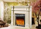 Decorative White Freestanding Modern Electrc Fireplace support Oak / Poly Resin Material