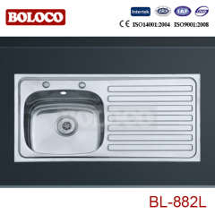 U.K/England Middle Polish/Satin/Ele-pearl Single bowl Single drainer Welding rectangle/Square Sink 304# BL882L/R