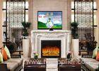 Home Living Room Furniture White Freestanding Electric Fireplace And TV Stand
