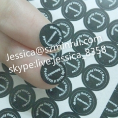Professional Dia 15mm Black Round Warranty Void Stickers from Minrui For Tamper Evident