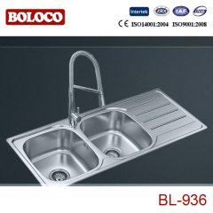 Europe Middle Polish/Satin/Ele-pearl Double bowl Single drainer Welding rectangle/Square Kitchen Sink 304# 201# BL936