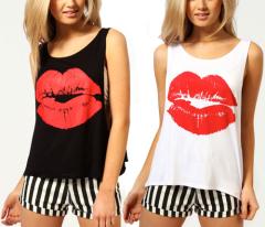 2015 fashion clothing personality red lip pattern good quality China dress oem