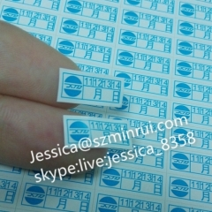 Destructible vinyl custom adhesive date warranty void stickers with months For Tamper Sticker Use