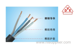 High quality VDE standard 4./5 cores rubber insulated copper condctor electrical wire