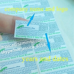 Wholesale Personalised Tamper Proof Warning Stickers Destructible Warranty Void Labels Printed Date and Company Logo