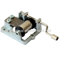 METAL HANDLE HAND CRANK MUSIC BOX MOVEMENT