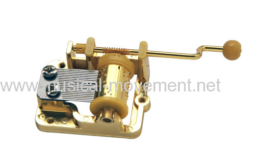 GOLDEN HAND CRANK MUSIC BOX MOVEMENT