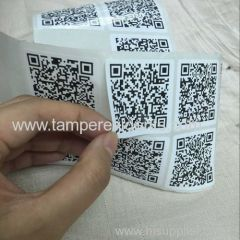 Wholesale Professinoal Anti Theft Destructible QR Code Labels with the qr Code printing from Minrui