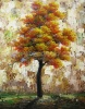 100% Handmade Orange Leaves Tree Oil Painting For Home Decoration