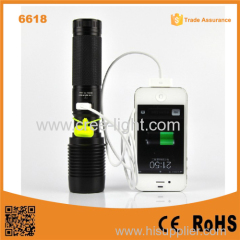 6618 High Power XML T6 usb led flashlight power bank