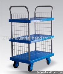 Plastic mobile material transport platform hand trolley on wheel