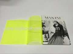160# coated paper cover softback brochure on transparent PVC jacket