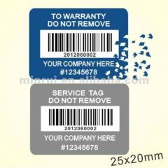 Minrui Best Price and Belivable Quality Tamper Evident Warranty Stickers Printed Barcode As Seal Sticker