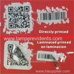 securtity tamper evident QR code and barcode unique number stickers