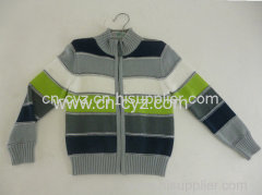 Boys' Striped Knitted Long-sleeved Cardigans