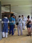cliente de Egipto para visitar cabina de pintura en polvo