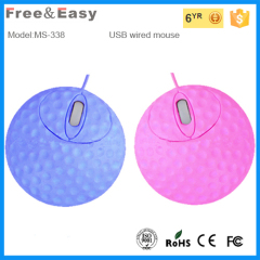 Colorful 3D mini optical computer wired round circinal golf mouse