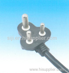 6A 250V South Africa and INDIA market SABS 3 pin power electric plug