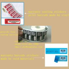 Minrui Customized Material Security Barcode Seals Lables for Warranty If Label Removed Free After-sales Void