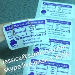 Custom Calibration Stickers Printing Company Logo And Name Tamper Evident Labels And Seals For Wholesale