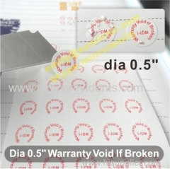 Round Calibration Void Seal Stickers