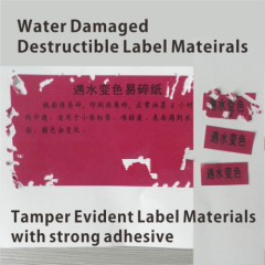 Special Anti-counterfeit Material Water Sensitive Paper with Fragile Labels Cover