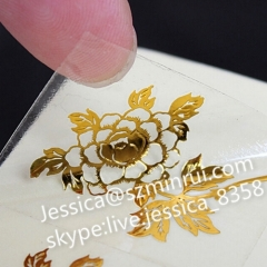 Custom Transparent Background Gold Printing Water Proof Vinyl Sticker Accept Custom Order Self Adhesive Type