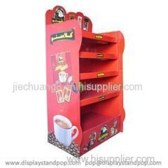 Leading Colorful Preserved Coffee Cardboard Floor Display Racks