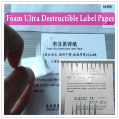 Minrui Research Special Foamtack Destructive Adhesive Papers Destructible Vinyl Labels Paper with Foam Cover