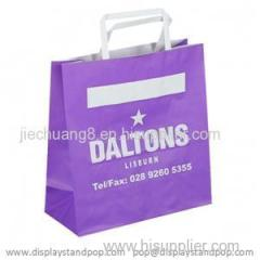 White Kraft Carrier Bags with Flat Handles