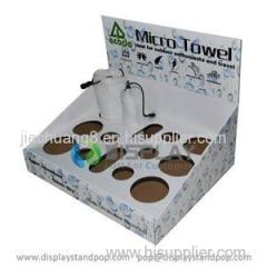 POP Corrugated Cardboard Counter Top Display Unit with Holes for Towel Displays
