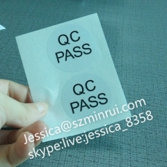 Best Quality Circle Printing QC Sticker Glossy Black PET Vinyl QC Pass Label Water Proof Fixed Asset Stickers
