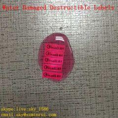 Unique Water Damaged Destructible Labels Vinyl for Warranty Void Color Change Destruct Sticker