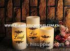 Home Decoration Round Flameless LED Pillar Candles With Real Wax and Black Printing