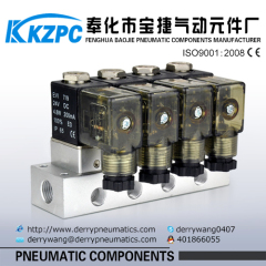 mini 12V solenoid coil combined manifold 2 way solenoid valve