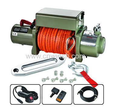 12000LBS rope winch with integrated metal control box and wireless remtoe