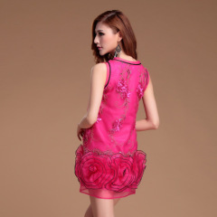 Wholesale fashion lady skirt with sl eeve less flower decoration by China dress manufacturers