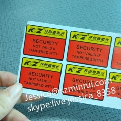 High Quality Self Adhesive Vinyl Label Paper Tamper Evident Destructible Labels For Box Package Sealing