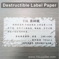 Self Adhesive Destructive Label Papers For Eggshell Sticker Use