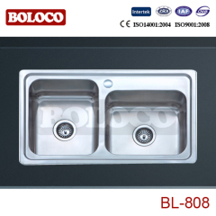 Italy Middle&High Polish/Satin/Ele-pearl Double bowl Welding rectangle/Square sink 304# BL808