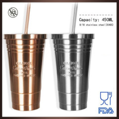 Best sale delicate single/double 304 stainless steel tumbler with stainless steel straw
