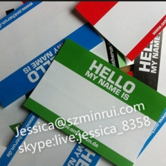 Factory Price Custom Different Colors Printed Hello My Name Is Destructible Vinyl Eggshell Sticker Non Removal