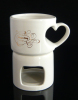 Ceramic stoneware heart shape handle chocolate fondue set