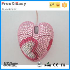 Heart shaped wired mouse